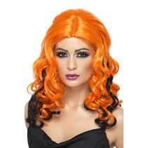 Smiffys - Pruik - Krullend - Oranje/zwart