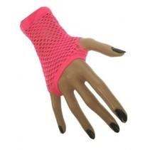 PartyXplosion - Handschoenen - Net - Fluor roze - Kort