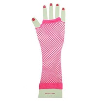 PartyXplosion - Handschoenen - Net - Fluor roze - Lang