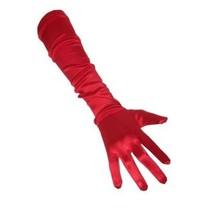 PartyXplosion - Handschoenen - Satijn - Rood - 48cm