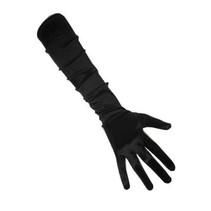 PartyXplosion - Handschoenen - Satijn - Zwart - 48cm - M