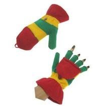 PartyXplosion - Handschoenen - Vingerloos - Met kapje - Rood/geel/groen