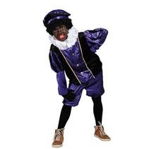 Witbaard - Kostuum - Zwarte piet - Velours - Paars/zwart - mt.152