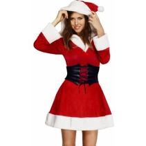 Smiffys - Kostuum - Jurk - Miss Santa - Met capuchon