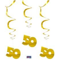 Folat - Hangdecoratie - Spiraal - 50 - Goud - 3st.