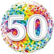Qualatex - Folieballon - Regenboog confetti - 50 jaar - Zonder vulling - 43cm