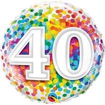 Qualatex - Folieballon - Regenboog confetti - 40 jaar - Zonder vulling - 43cm