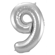 Folat - Folieballon - Cijfer - 9 - Zonder vulling - Zilver - 86cm