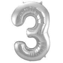 Folat - Folieballon - Cijfer - 3 - Zonder vulling - Zilver - 86cm