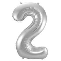 Folat - Folieballon - Cijfer - 2 - Zonder vulling - Zilver - 86cm