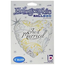 Betallic - Folieballon - Hart - Just married - Zonder vulling - 43cm