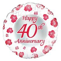 Oaktree - Folieballon - Happy 40th anniversary - Zonder vulling - 43cm