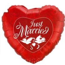 Qualatex - Folieballon - Supershape - Hart - Just married - Rood - Zonder vulling - 91cm