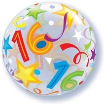 Qualatex - Folieballon - Bubbles - 16 Jaar - Zonder vulling - 56cm
