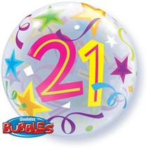 Qualatex - Folieballon - Bubbles - 21 Jaar - Zonder vulling - 56cm