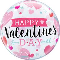 Qualatex - Folieballon - Bubbles - Happy Valentine's day - Zonder vulling - 56cm