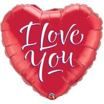 Qualatex - Folieballon - Shape - Hart - I love you - Zonder vulling - 45cm