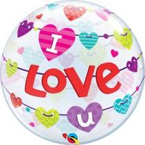Qualatex - Folieballon - Bubble - I love u - Zonder vulling - 56cm