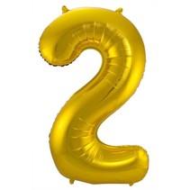 Folat - Folieballon - Cijfer - 2 - Zonder vulling - Goud - 86cm