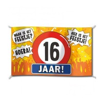 Paperdreams - Vlag - Hoera, 16 jaar - 150x90cm