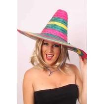 PartyXplosion - Hoed - Sombrero - Fluor kleuren