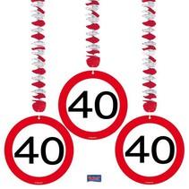 Folat - Hangdecoratie - 40 Jaar - 3st.