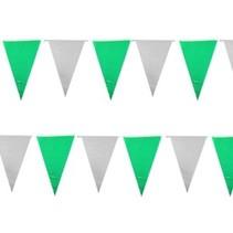 PartyXplosion - Vlaggenlijn - Stof - Groen/wit