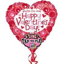 Anagram - Folieballon - Happy valentines day - Met muziek - 74cm