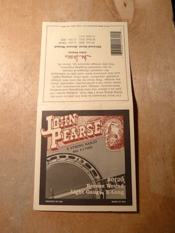 John Pearse John Pearse 1700L 5 String Banjo 80/20 Bronze Light Gauge, X-long