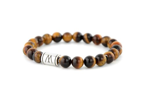 Minimal Brown Bracelet - Silver Brown Tiger Eye