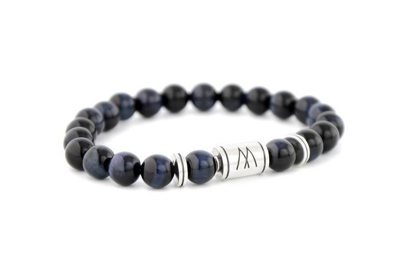 Blue Bracelet - Twin Silver Blue Tiger Eye