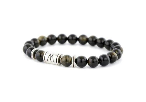 Minimal Black Bracelet - Twin Silver Black Sheen Obsidian