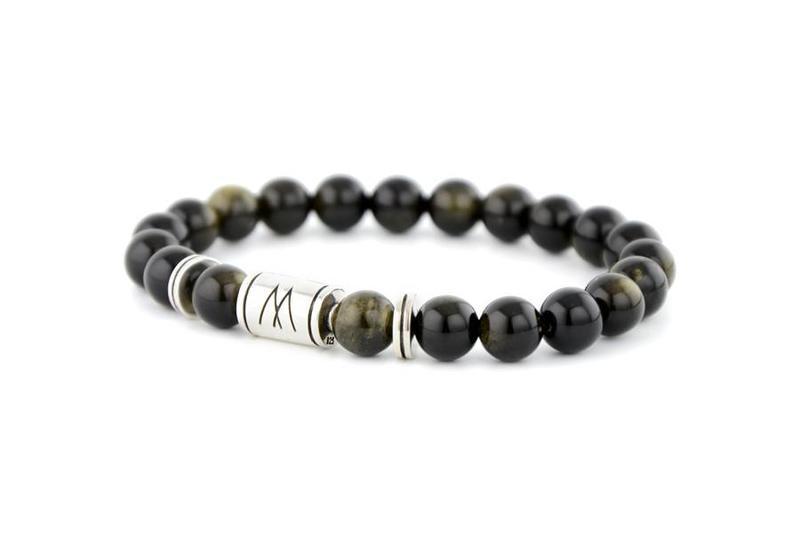 Black Bracelet - Twin Silver Black Sheen Obsidian