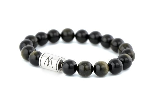 Prestige Black Bracelet - Silver Black Sheen Obsidian