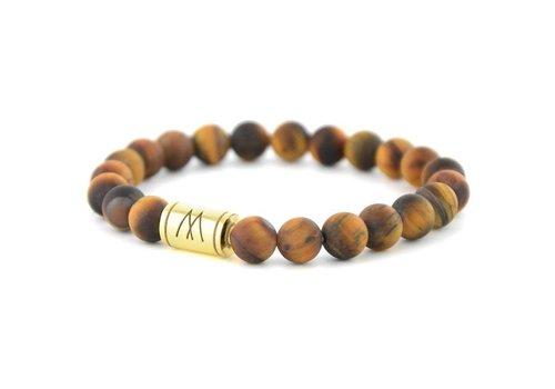 Minimal Brown Bracelet - Gold Brown Tiger Eye Matt