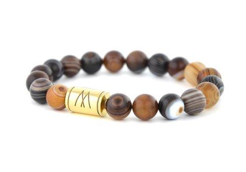 Prestige Brown Bracelet - Gold Striped Agate