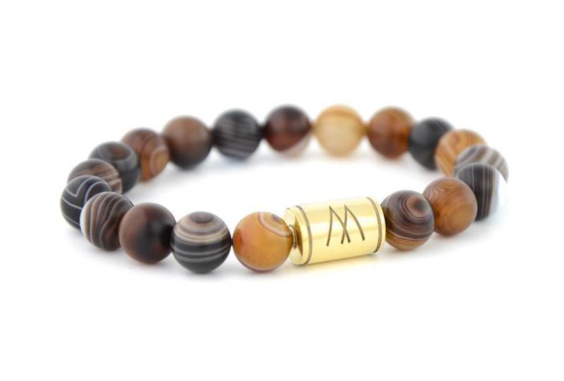 Brown Bracelet - Gold Striped Agate
