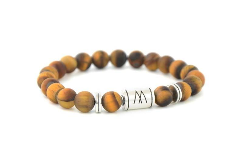 Brown Bracelet - Twin Silver Matt Brown Tiger Eye