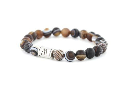 Minimal Brown Bracelet - Silver Striped Agate