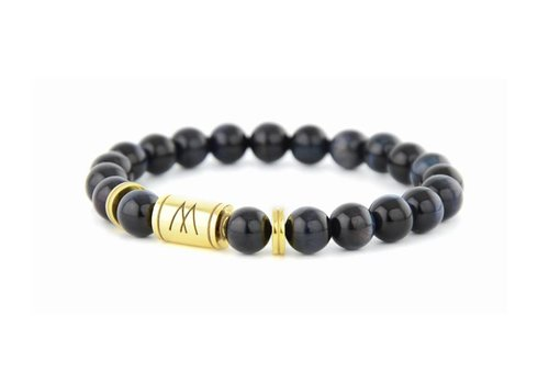 Minimal Blue Bracelet - Twin Gold Blue Tiger Eye