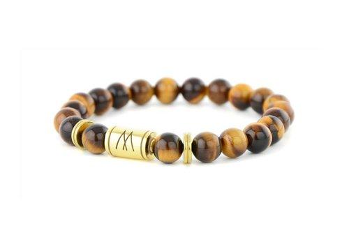 Minimal Brown Bracelet - Twin Gold Brown Tiger Eye