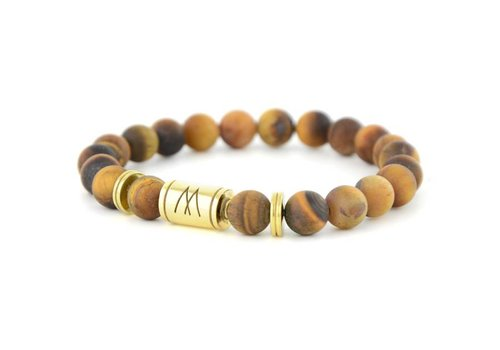 PETITE TWIN GOLD MATT BROWN TIGER EYE