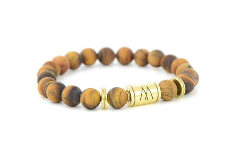 Brown Bracelet - Twin Gold Brown Tiger Eye Matt