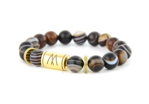 Prestige Brown Bracelet - Twin Gold Striped Agate