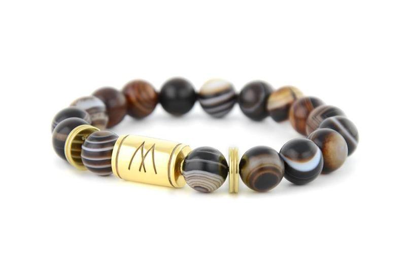 Brown Bracelet - Twin Gold Striped Agate