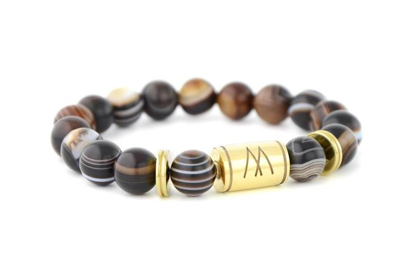 Brown Bracelet - Twin Gold Striped Agate