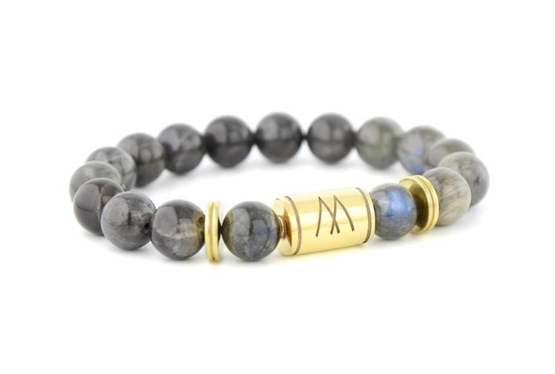 Grey Bracelet - Twin Gold Labradorite