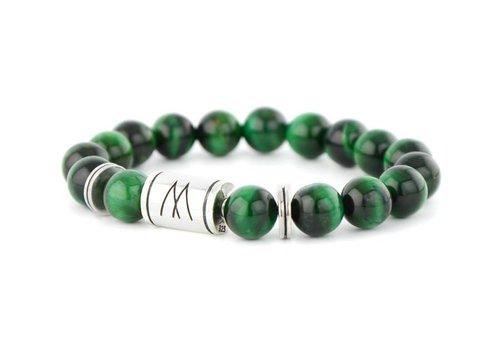 Prestige Green Bracelet - Twin Silver Green Tiger Eye