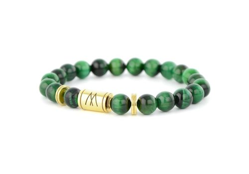 Minimal Green Bracelet - Twin Gold Green Tiger Eye