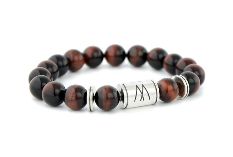 Red Bracelet - Twin Silver Red Tiger Eye
